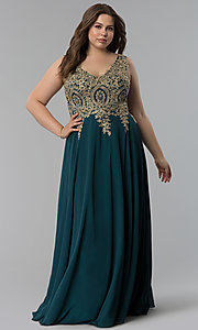Image of long plus-size lace-applique v-neck prom dress. Style: FB-GL2311P Front Image