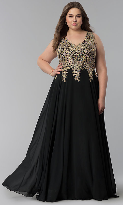 Image of long plus-size lace-applique v-neck prom dress. Style: FB-GL2311P Detail Image 3