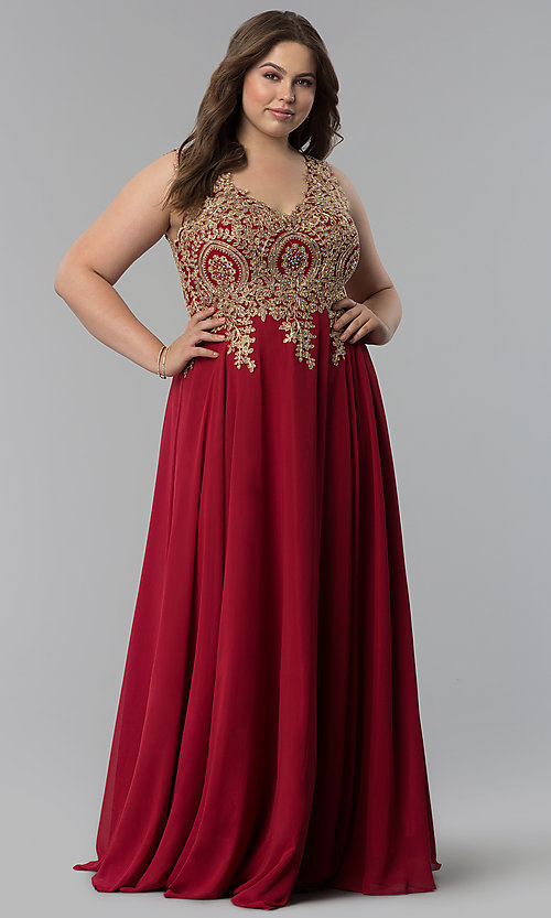 Image of long plus-size lace-applique v-neck prom dress. Style: FB-GL2311P Detail Image 6