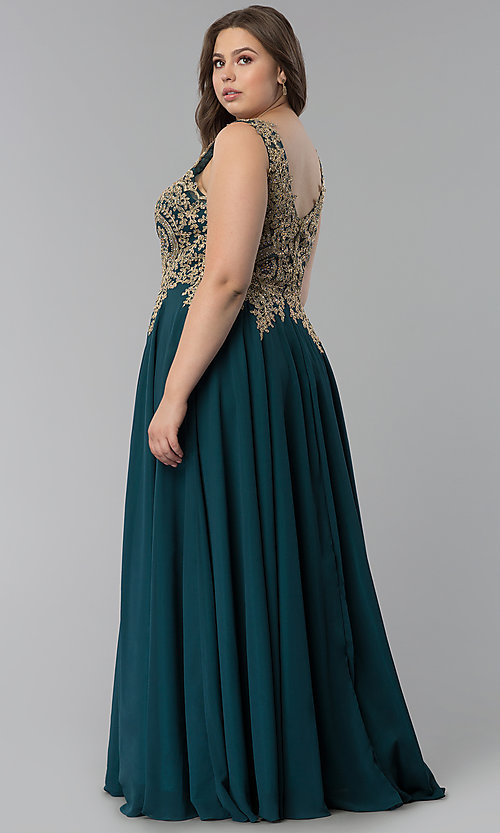 Image of long plus-size lace-applique v-neck prom dress. Style: FB-GL2311P Back Image