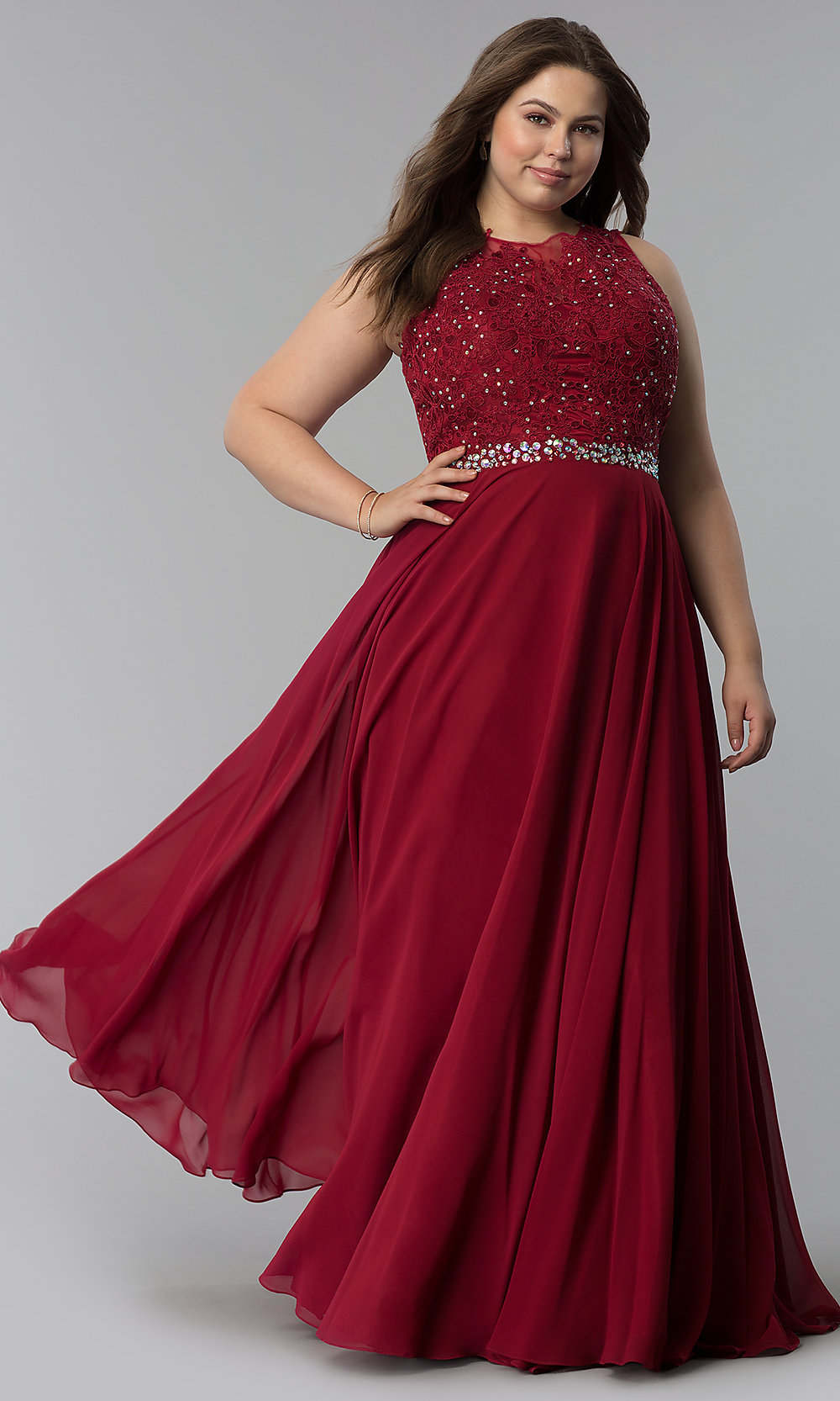 ... scoop-neck lace-bodice long prom dress. Style. Tap to expand 584f53f76