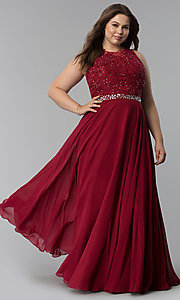 Image of plus-size scoop-neck lace-bodice long prom dress. Style: FB-GL2417P Front Image