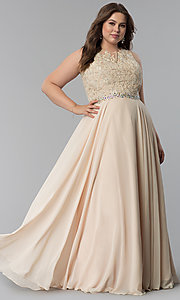 Image of plus-size scoop-neck lace-bodice long prom dress. Style: FB-GL2417P Detail Image 3