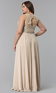 Image of plus-size scoop-neck lace-bodice long prom dress. Style: FB-GL2417P Detail Image 4
