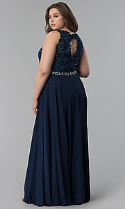 Image of plus-size scoop-neck lace-bodice long prom dress. Style: FB-GL2417P Back Image
