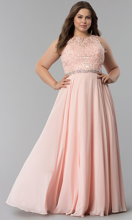 Image of plus-size scoop-neck lace-bodice long prom dress. Style: FB-GL2417P Detail Image 2