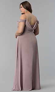 Image of off-the-shoulder long cowl-back plus prom dress. Style: FB-GL1522P Back Image