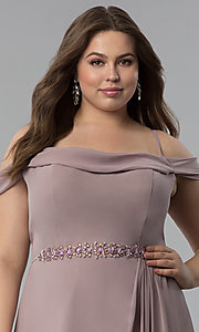 Image of off-the-shoulder long cowl-back plus prom dress. Style: FB-GL1522P Detail Image 1