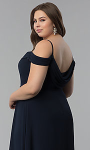 Image of off-the-shoulder long cowl-back plus prom dress. Style: FB-GL1522P Detail Image 6