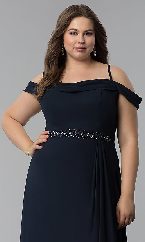 Image of off-the-shoulder long cowl-back plus prom dress. Style: FB-GL1522P Detail Image 5