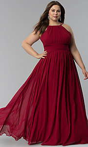 Image of high-neck ruched-waist long plus-size prom dress. Style: FB-GL1524P Detail Image 3