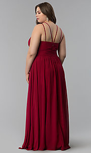 Image of high-neck ruched-waist long plus-size prom dress. Style: FB-GL1524P Detail Image 4