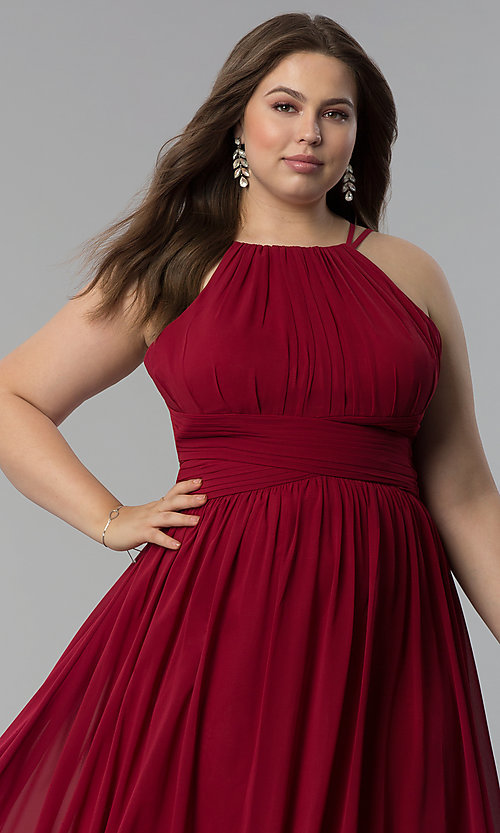 Image of high-neck ruched-waist long plus-size prom dress. Style: FB-GL1524P Detail Image 5