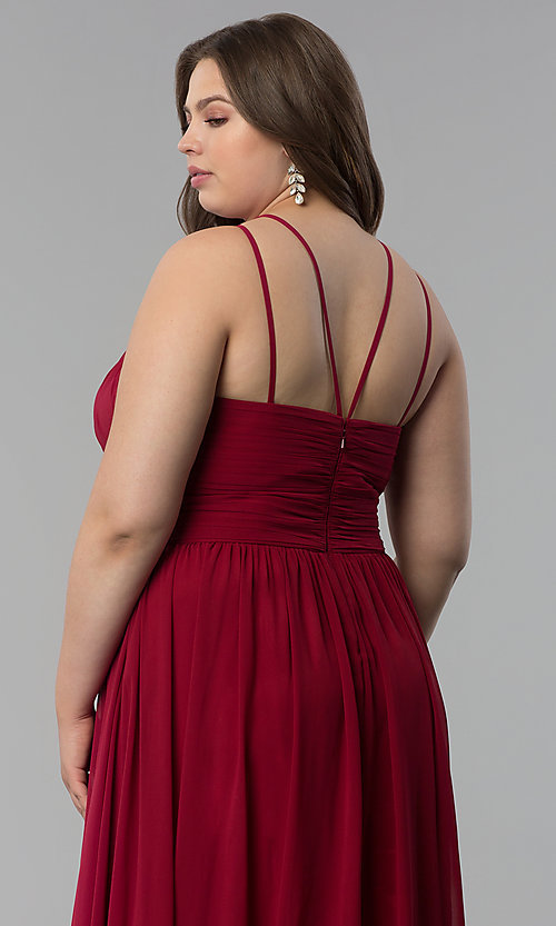 Image of high-neck ruched-waist long plus-size prom dress. Style: FB-GL1524P Detail Image 6