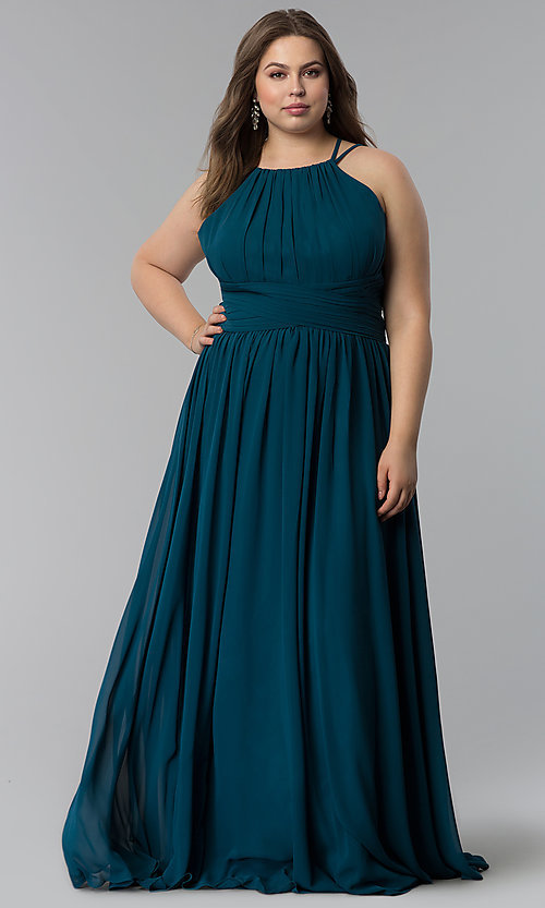 Image of high-neck ruched-waist long plus-size prom dress. Style: FB-GL1524P Front Image