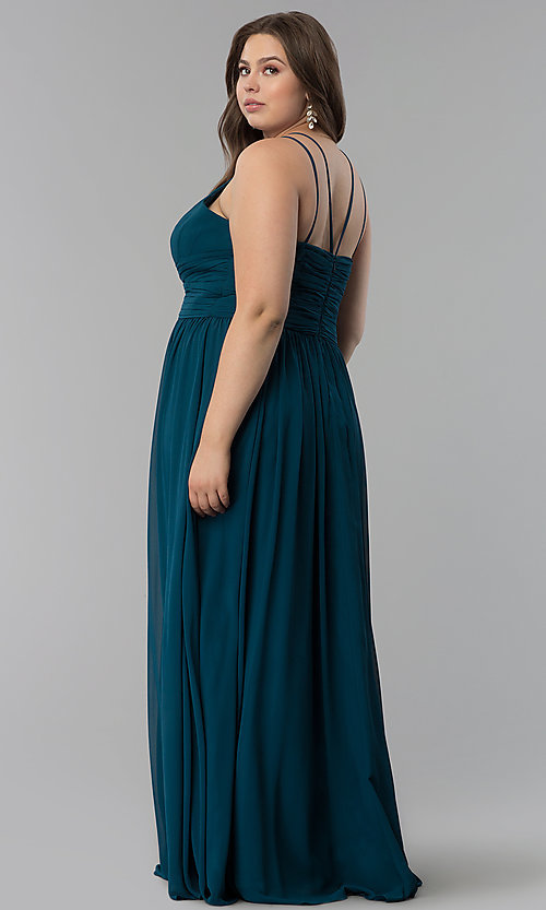 Image of high-neck ruched-waist long plus-size prom dress. Style: FB-GL1524P Back Image