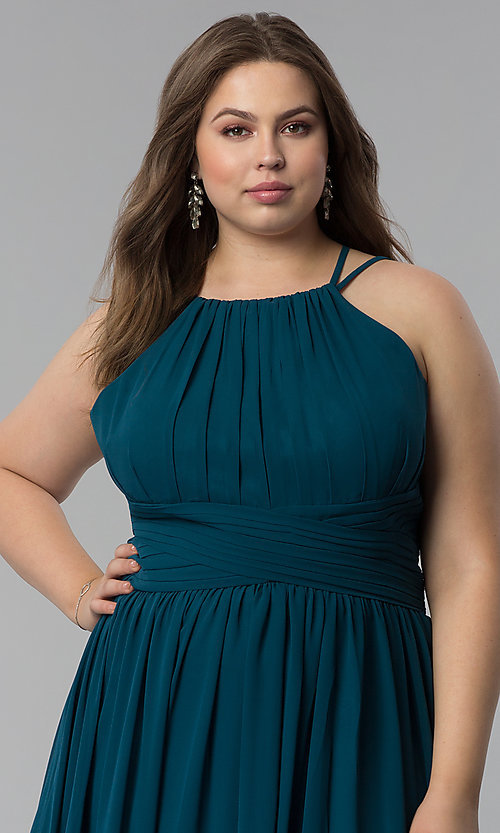 Image of high-neck ruched-waist long plus-size prom dress. Style: FB-GL1524P Detail Image 1