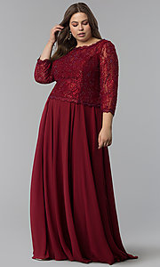Image of lace-bodice 3/4-sleeve plus-size long prom dress. Style: FB-GL1509P Front Image
