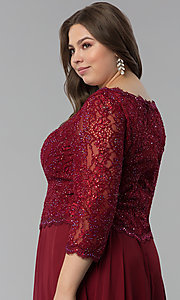Image of lace-bodice 3/4-sleeve plus-size long prom dress. Style: FB-GL1509P Detail Image 2