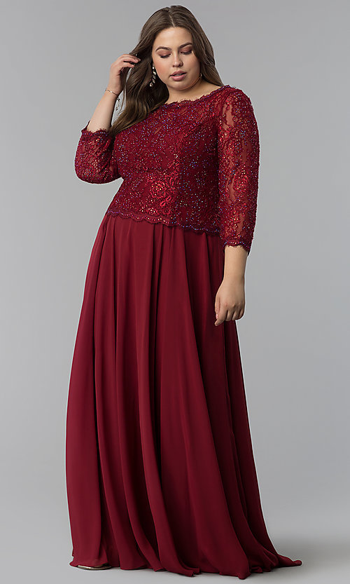 Plus-Size Long Prom Dress with Sleeves- PromGirl