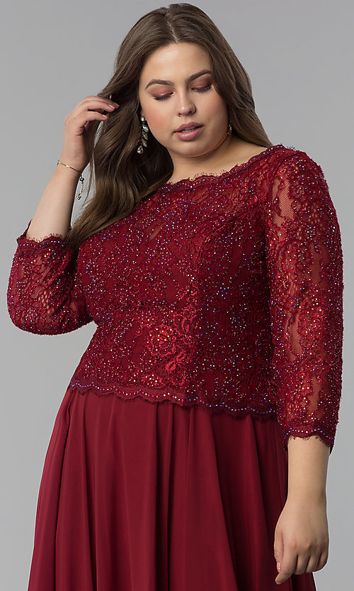 Image of lace-bodice 3/4-sleeve plus-size long prom dress. Style: FB-GL1509P Detail Image 1