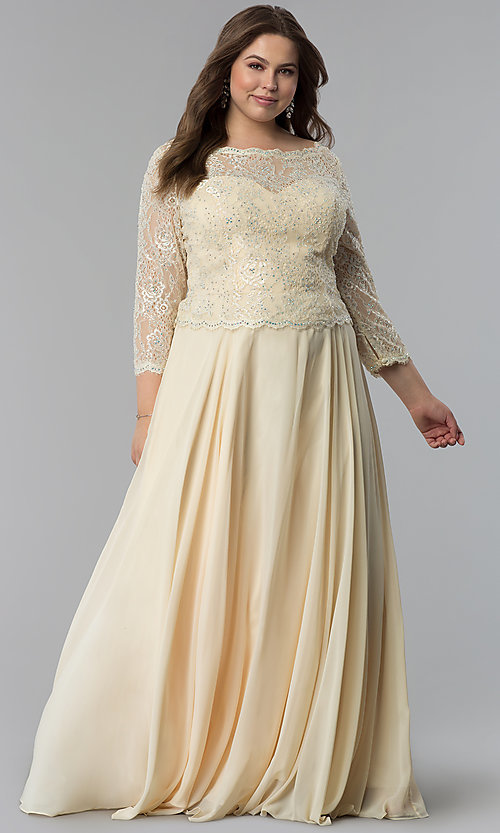 Image of lace-bodice 3/4-sleeve plus-size long prom dress. Style: FB-GL1509P Detail Image 3