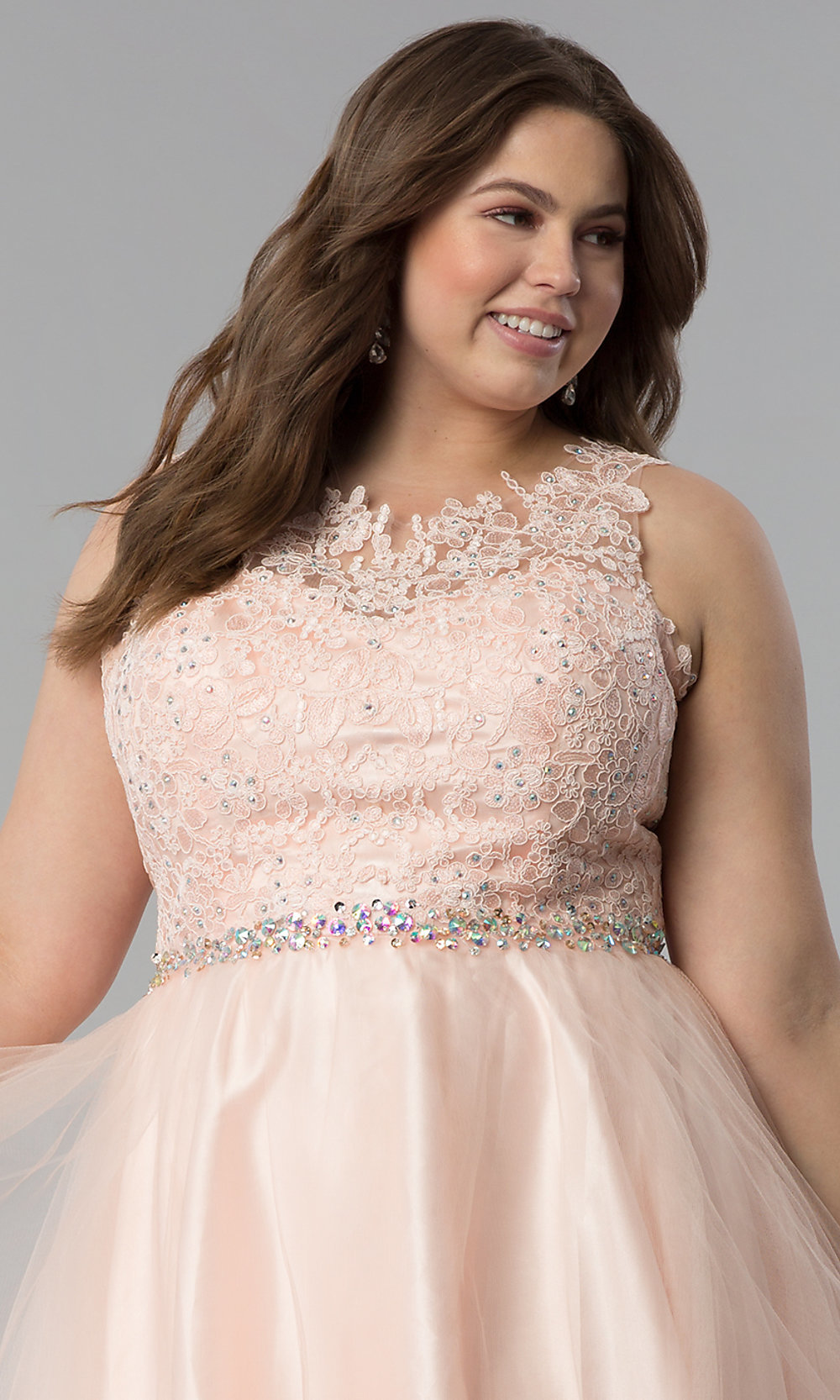 Plus-Size Tulle Short Lace-Bodice Prom Dress -PromGirl a166aaa0a
