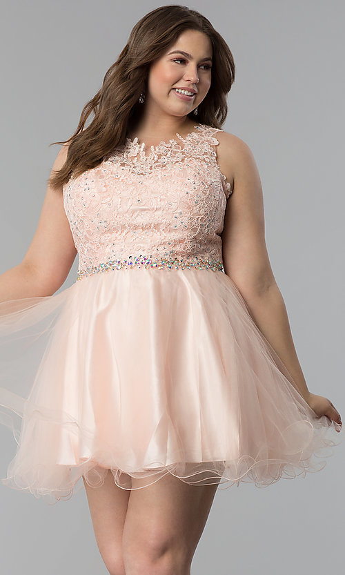 Plus-Size Tulle Short Lace-Bodice Prom Dress -PromGirl