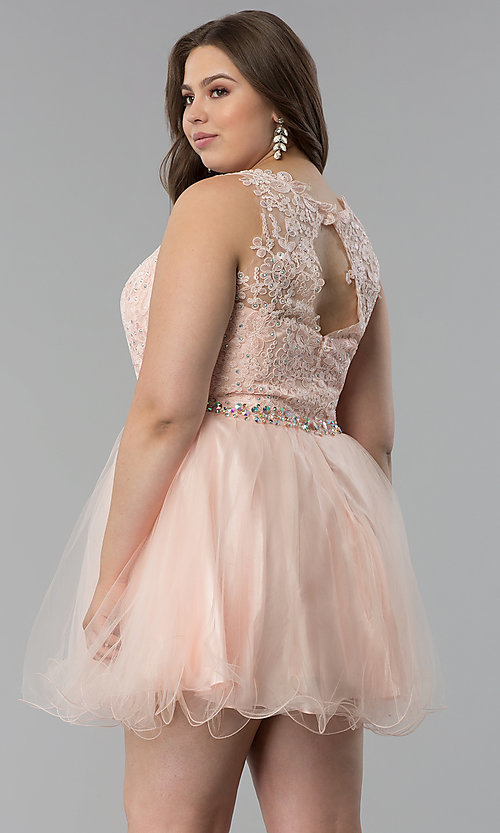 Image of plus-size lace-bodice short tulle prom dress. Style: FB-GS2375P Back Image