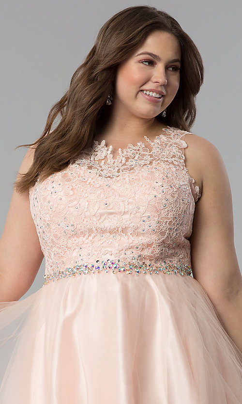 Image of plus-size lace-bodice short tulle prom dress. Style: FB-GS2375P Detail Image 1