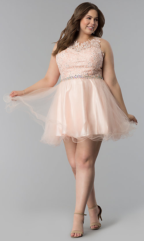 Image of plus-size lace-bodice short tulle prom dress. Style: FB-GS2375P Detail Image 2