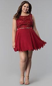 Image of plus-size semi-formal lace-bodice dress. Style: FB-GS2314P Detail Image 3