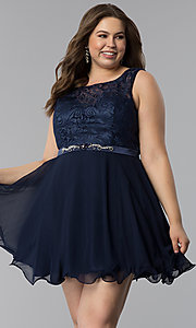 Image of plus-size semi-formal lace-bodice dress. Style: FB-GS2314P Detail Image 4