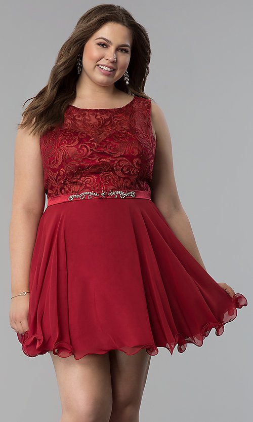 Semi-Formal Plus-Size Lace-Bodice Dress - PromGirl