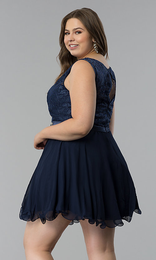 Image of plus-size semi-formal lace-bodice dress. Style: FB-GS2314P Detail Image 5