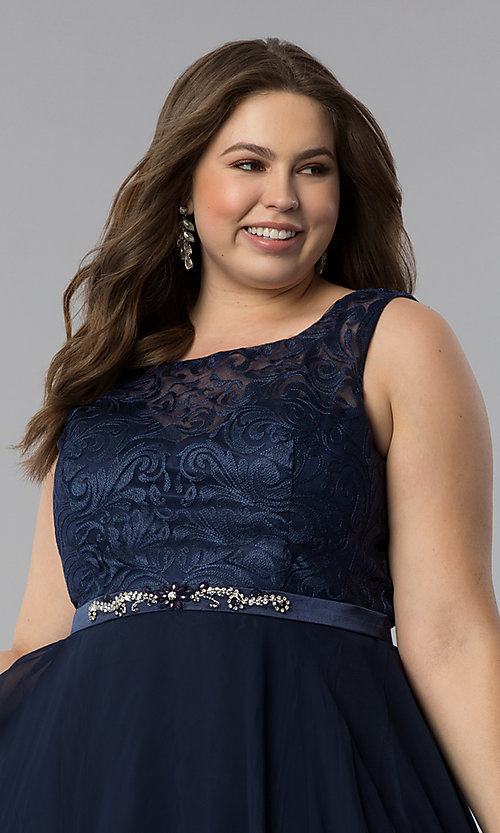 Image of plus-size semi-formal lace-bodice dress. Style: FB-GS2314P Detail Image 6