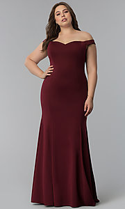 Image of long plus-size mermaid off-the-shoulder prom dress. Style: PO-8160P Front Image