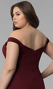 Image of long plus-size mermaid off-the-shoulder prom dress. Style: PO-8160P Detail Image 2