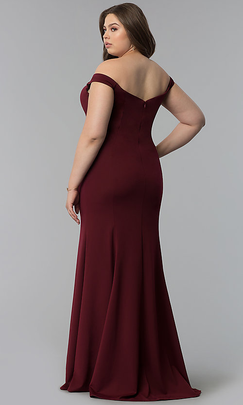 Image of long plus-size mermaid off-the-shoulder prom dress. Style: PO-8160P Back Image