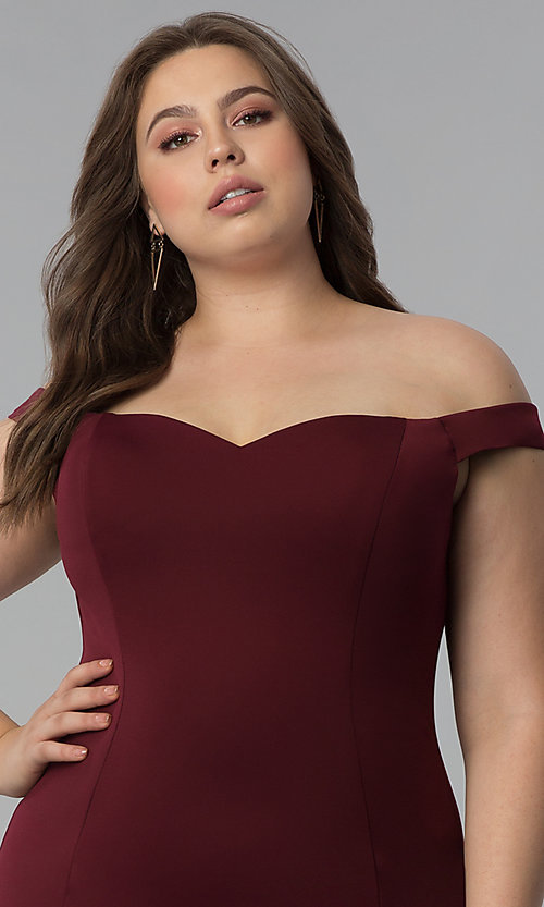 Image of long plus-size mermaid off-the-shoulder prom dress. Style: PO-8160P Detail Image 1