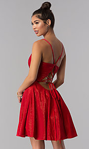 Image of short JVN by Jovani v-neck homecoming dress. Style: JO-JVN-JVN65632 Front Image