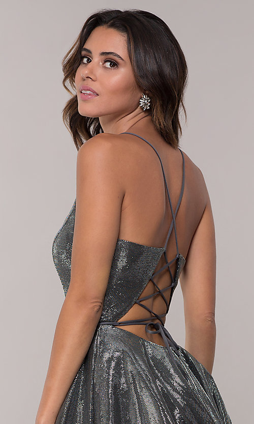 Image of short JVN by Jovani v-neck homecoming dress. Style: JO-JVN-JVN65632 Detail Image 6