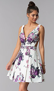 Floral-Print JVN by Jovani Short Homecoming Dress