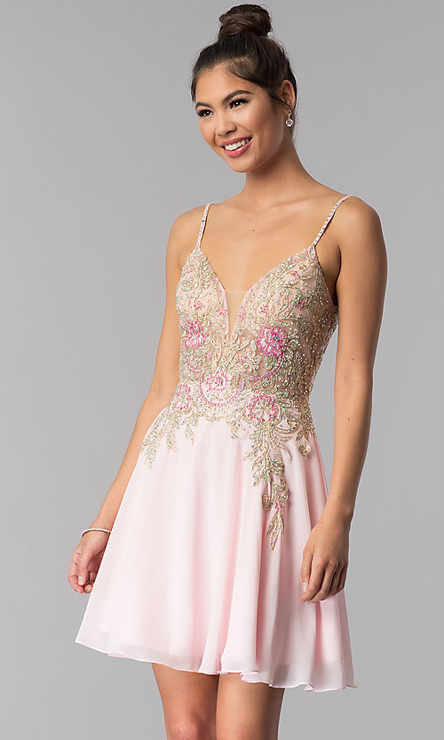 68bc7910e3 Image of short JVN by Jovani embroidered-bodice hoco dress. Style  JO-