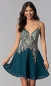 Image of teal JVNX by Jovani short homecoming dress. Style: JO-JVNX65162 Front Image