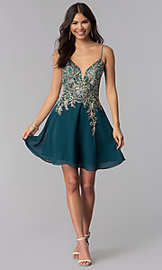 Image of teal JVNX by Jovani short homecoming dress. Style: JO-JVNX65162 Detail Image 3