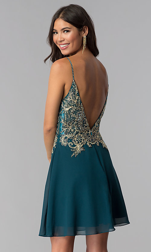 Image of teal JVNX by Jovani short homecoming dress. Style: JO-JVNX65162 Back Image
