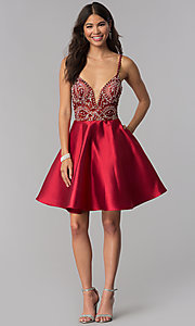 Image of short satin JVNX by Jovani homecoming dress. Style: JO-JVNX53168 Detail Image 3