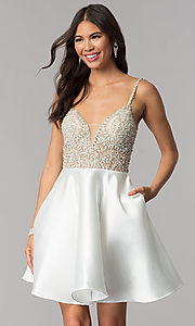 Image of short satin JVNX by Jovani homecoming dress. Style: JO-JVNX53168 Front Image
