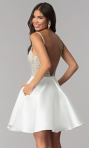 Image of short satin JVNX by Jovani homecoming dress. Style: JO-JVNX53168 Back Image
